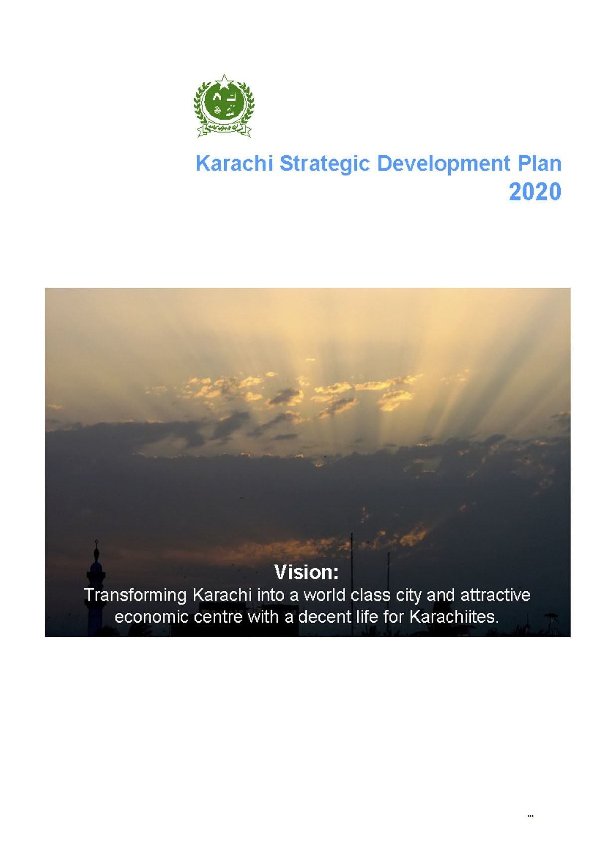 A page from the Karachi Strategic Development Plan 2020, published by the City District Government Karachi (CDGK), 2007