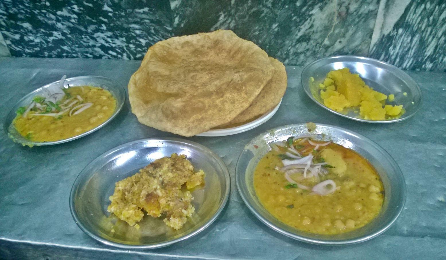 The halwa puri meal at Taj Mahal Sweets