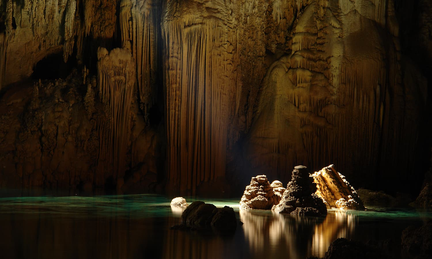 Ninth place: limestone stalagmites inside the Anhumas Abyss, Brasil.  — Photo by Caio Vilela