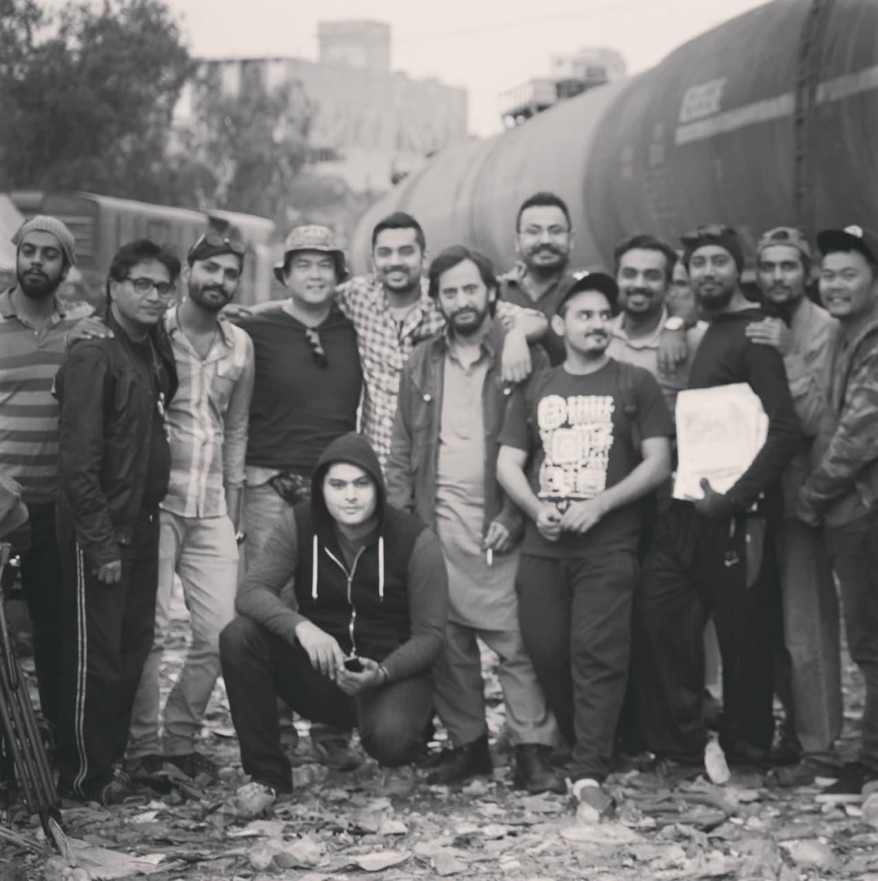 Saleem Mairaj, director Shahid Shafaat with the crew