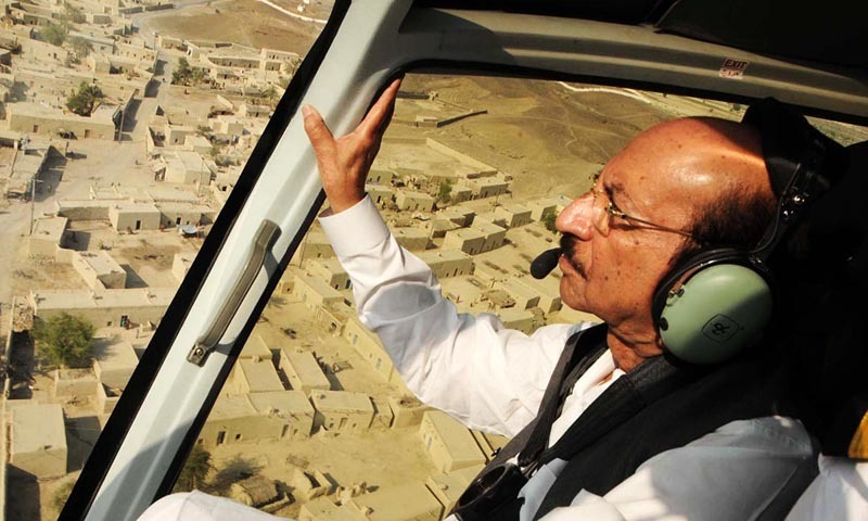 Sindh Chief Minister Syed Qaim Ali Shah's helicopter, which landed in the outfield, led to suspension of the match for almost two and a half hours. — Online/File