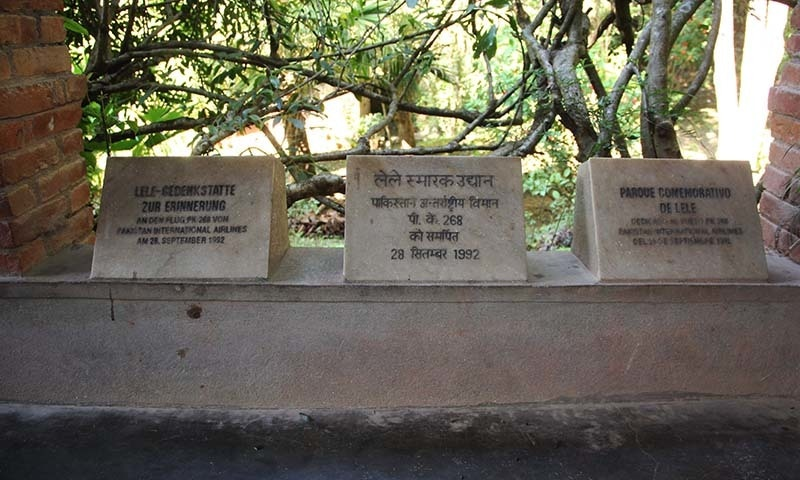 Passenger memorials are inscribed on marble stones. — Photo by Fazal Khaliq