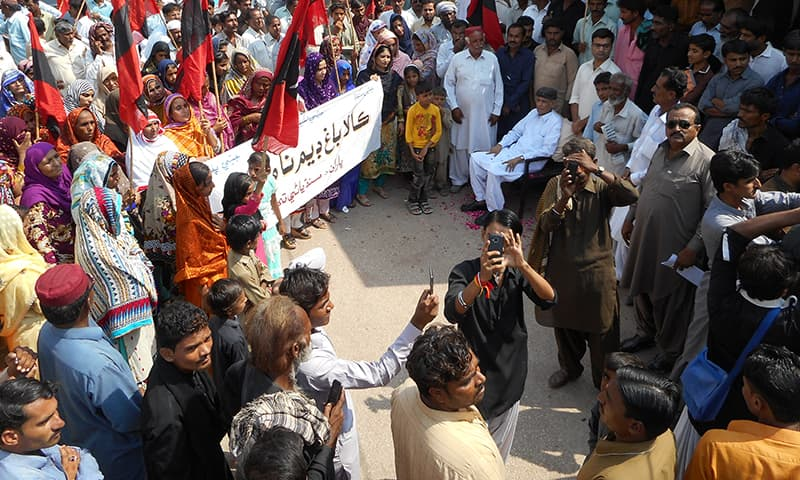 The protestors gathered at the Badin press club.— Photo by author