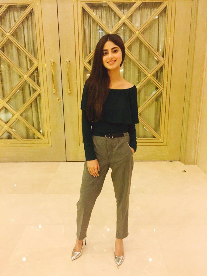 Styled by Rao Ali Khan, Sajal looks breezy in a Forever 21 top, worn with Bershka trousers