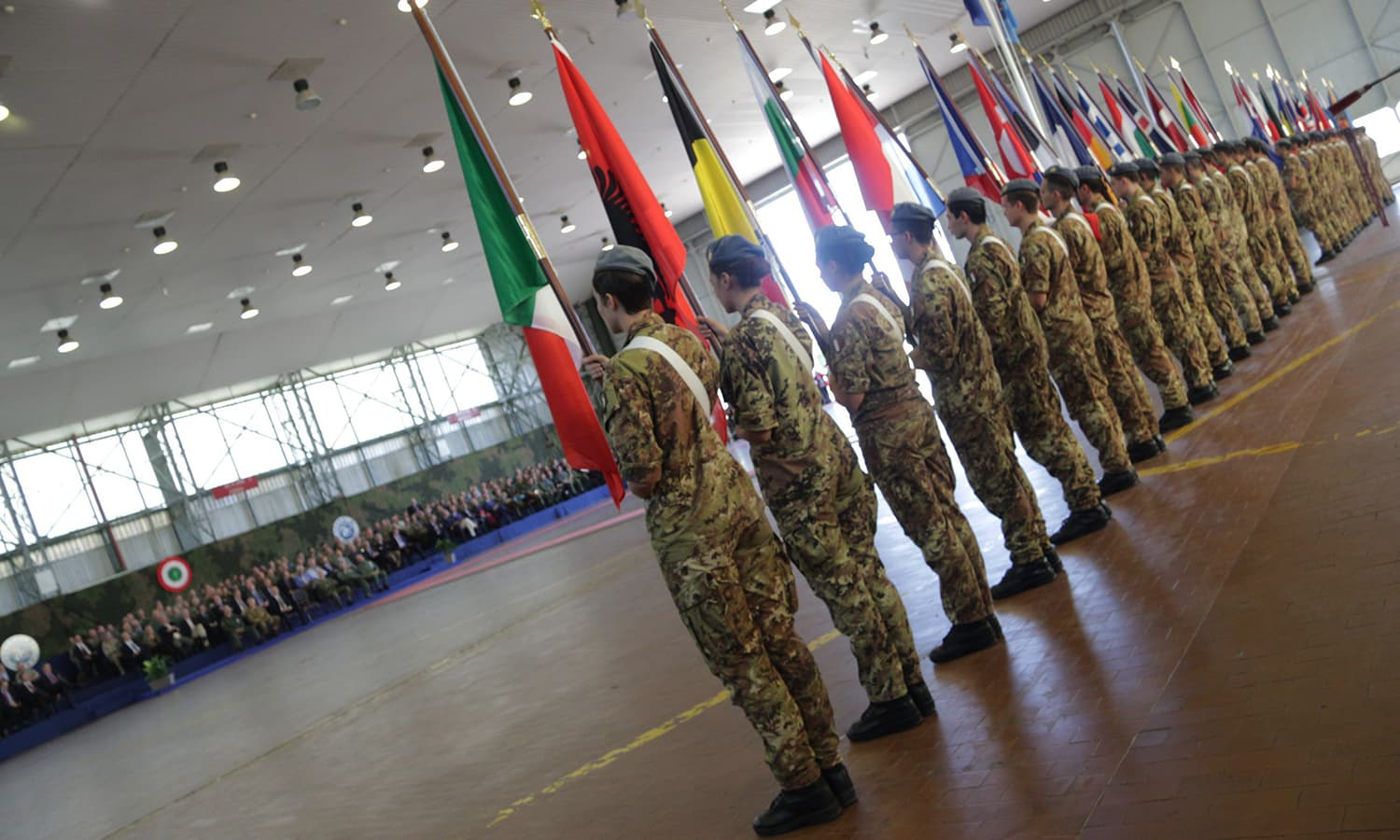 Soldiers attend the opening ceremony of Nato's large scale exercise Trident Juncture 2015 at the Italian Air Force Base in Trapani, Sicily. — AFP