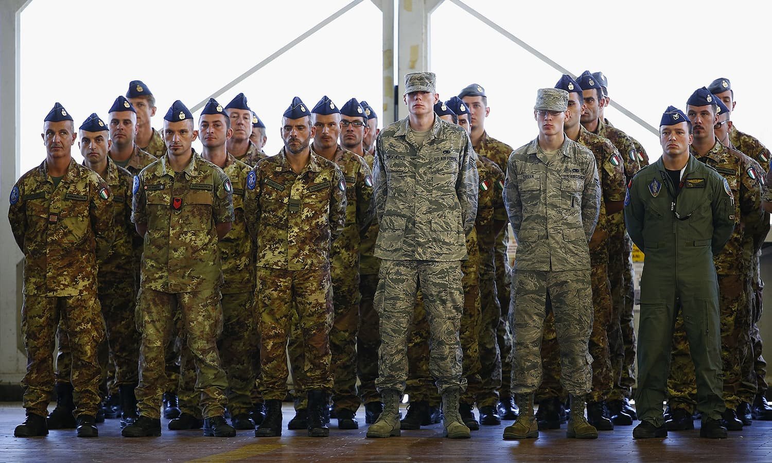 Nato soldiers attend a Nato military exercise at Birgi Nato airbase in Trapani, Italy. — Reuters
