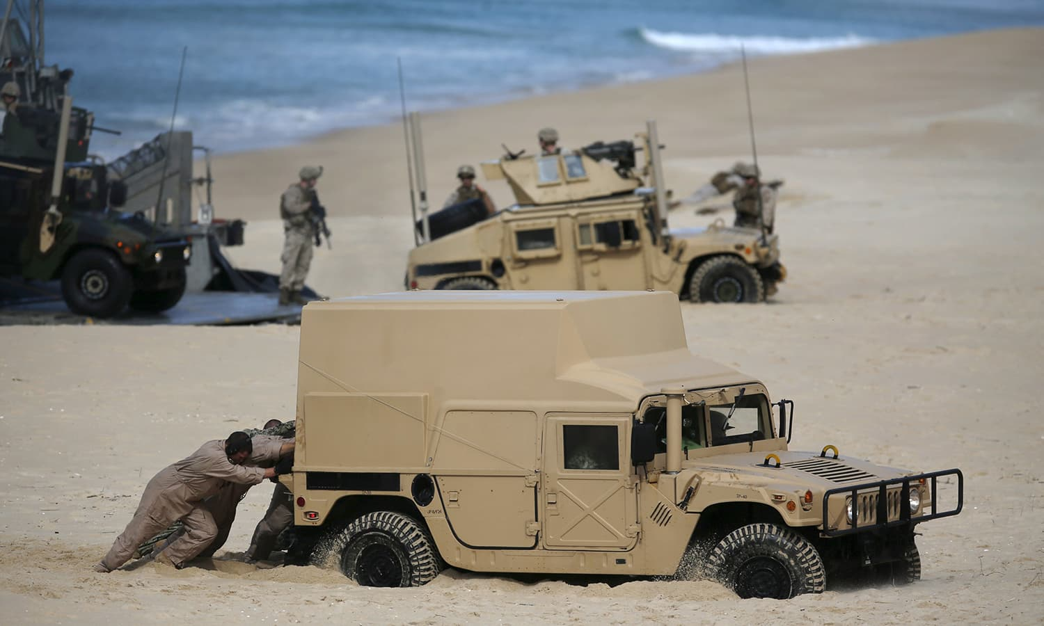 Nato soldiers attend a Nato military exercise at Raposa beach, near Setubal, Portugal. — Reuters