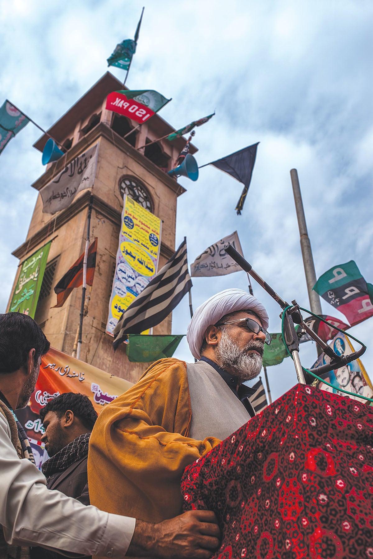 Majlis Wahdat-e-Muslimeen central leader Raja Nasir Abbas addresses a rally at Shikarpur's Lakhi Darr Chowk | Mohammad Ali, White Star