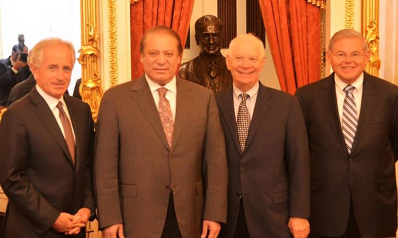Prime Minister Muhammad Nawaz Sharif with Senator Bob Croker (1st Left) Chairman and other members of US Senate Committee on Foreign Relations. —Photo Courtesy: Prime Minister's Office