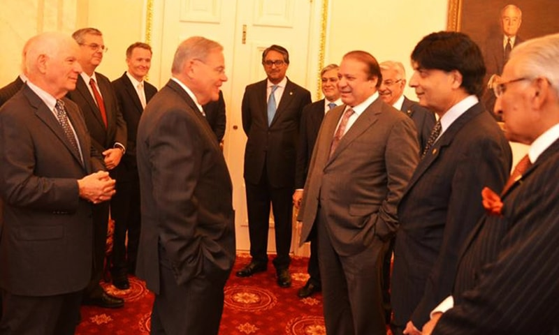 Prime Minister Muhammad Nawaz Sharif and his delegation chat with members of US Senate Committee on Foreign Relations. —Photo Courtesy: Prime Minister's Office