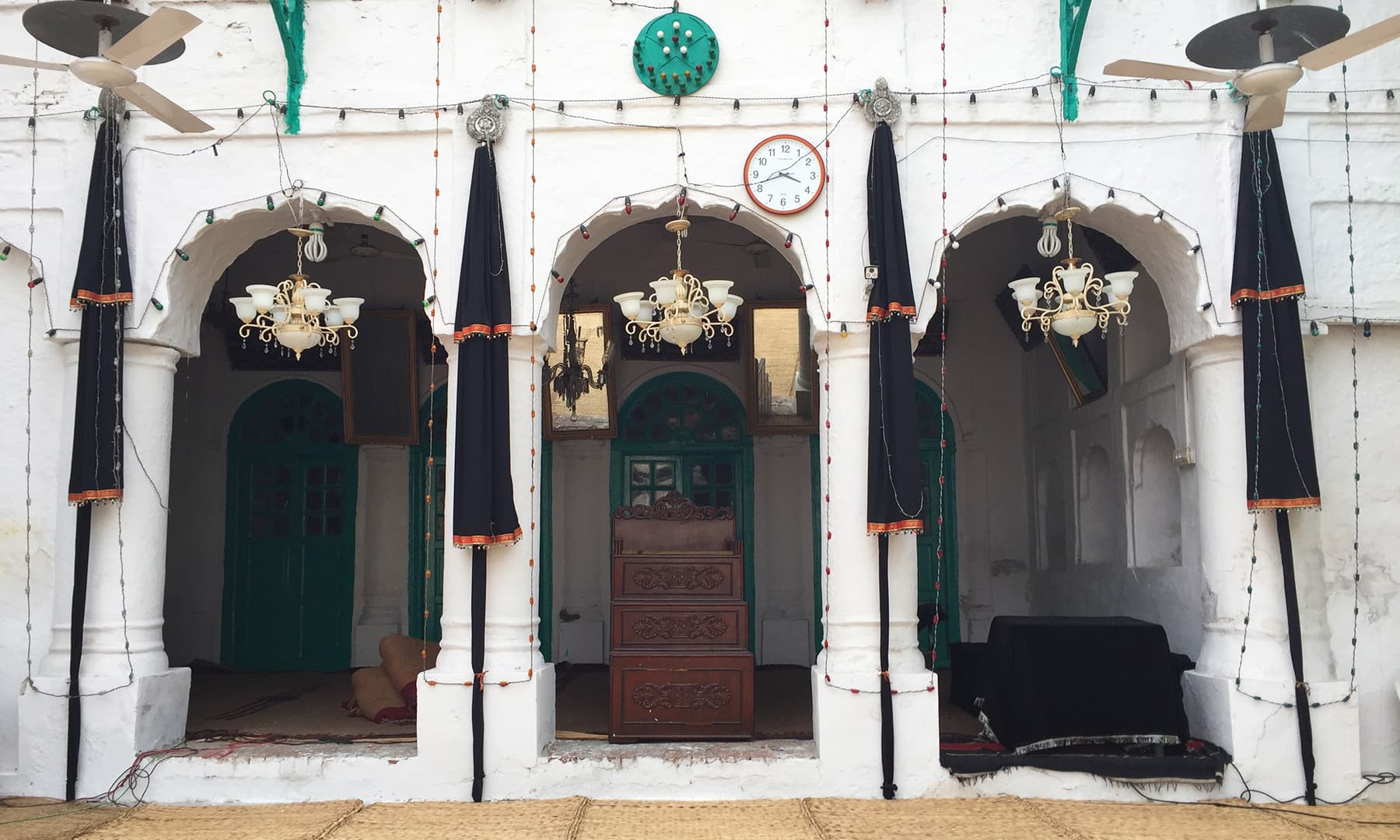 A wooden pulpit at Nisar 'haveli' where the 'Zakir' (scholar/orator) sits and addresses the mourners. —Taimur Shamil