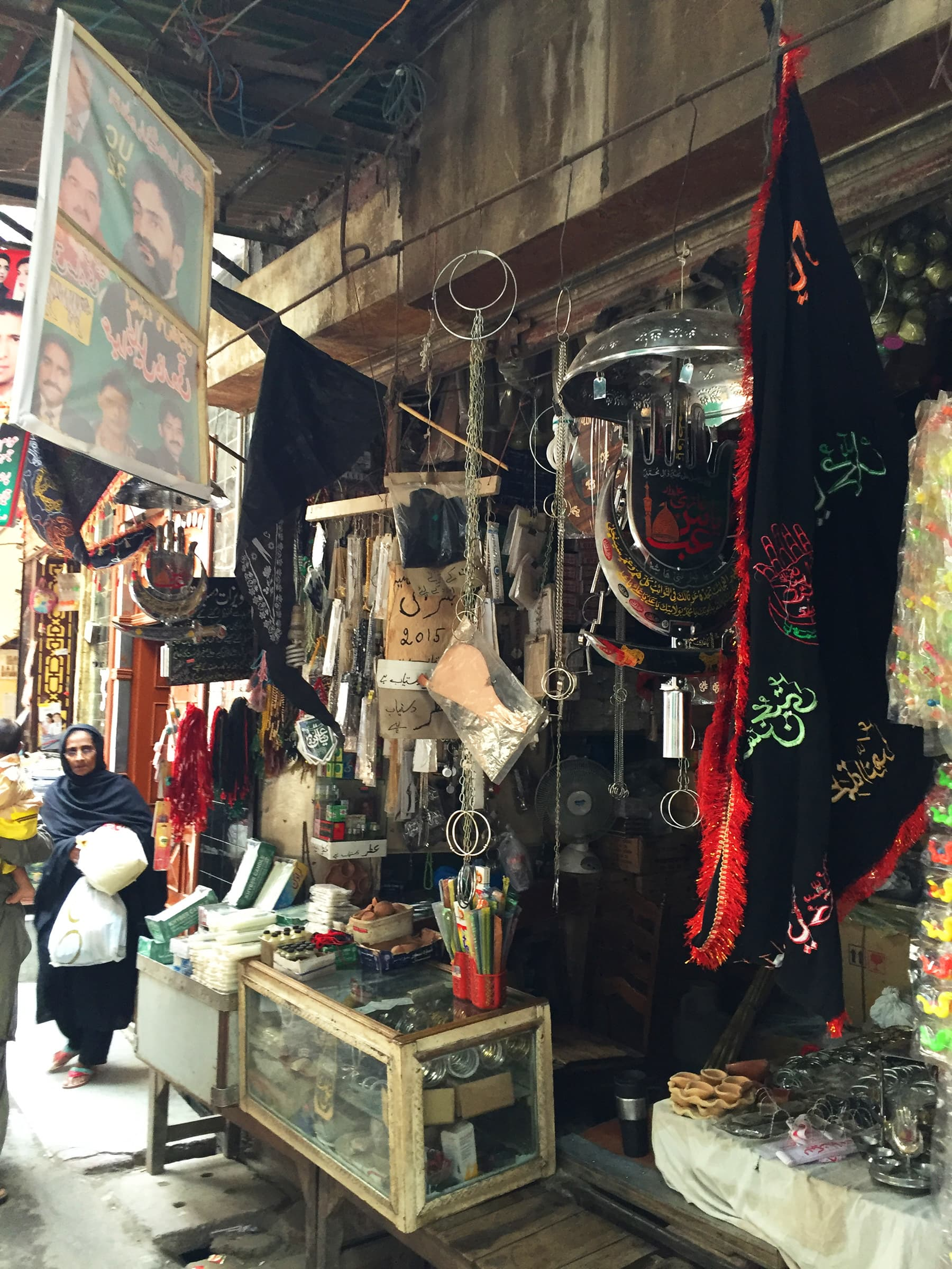 Stalls with 'alams' and relics for Moharram processions. —Taimur Shamil
