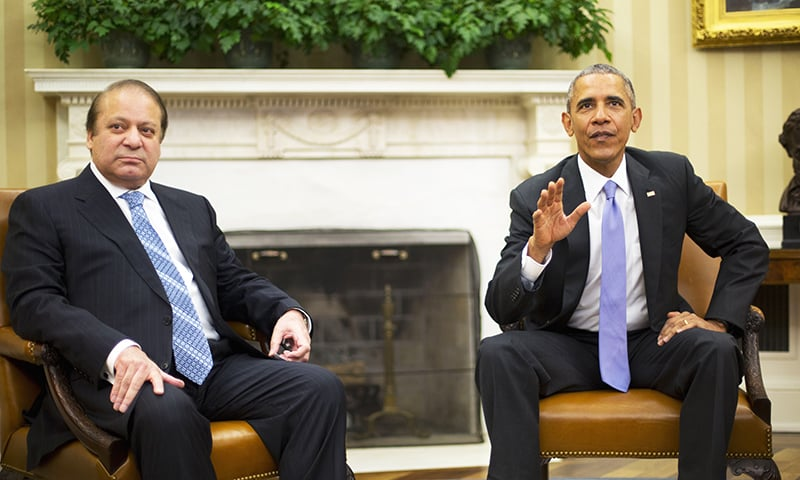 President Barack Obama with Prime Minister Nawaz Sharif during their meeting in the Oval Office of the White House in Washington -AP
