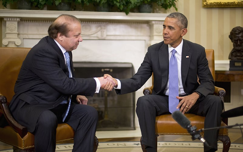 President Barack Obama shakes hands with Pakistani Prime Minister Nawaz Sharif during their meeting in the Oval Office. —AP