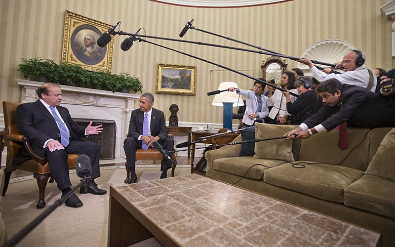 President Barack Obama listens to Pakistani Prime Minister Nawaz Sharif during their meeting in the Oval Office of the White House.—AP