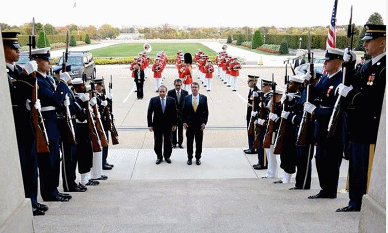 US Defence Secretary Ashton Carter hosted Prime Minister Nawaz Sharif at the Pentagon. —Photo courtesy: Radio Pakistan