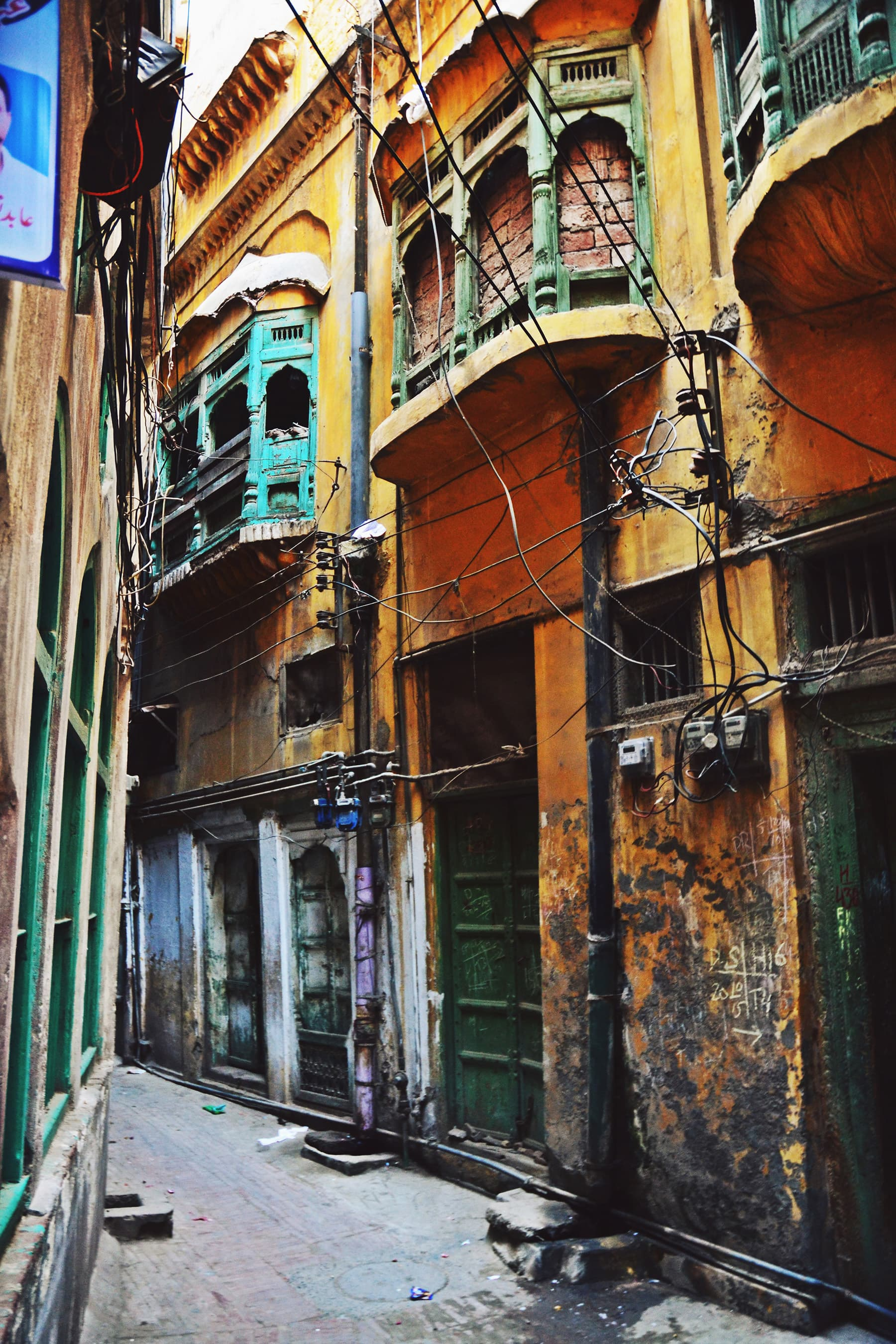 Balconies with wooden work in Mohalla Shian Kashmirian. —Photo by Abdullah Khan