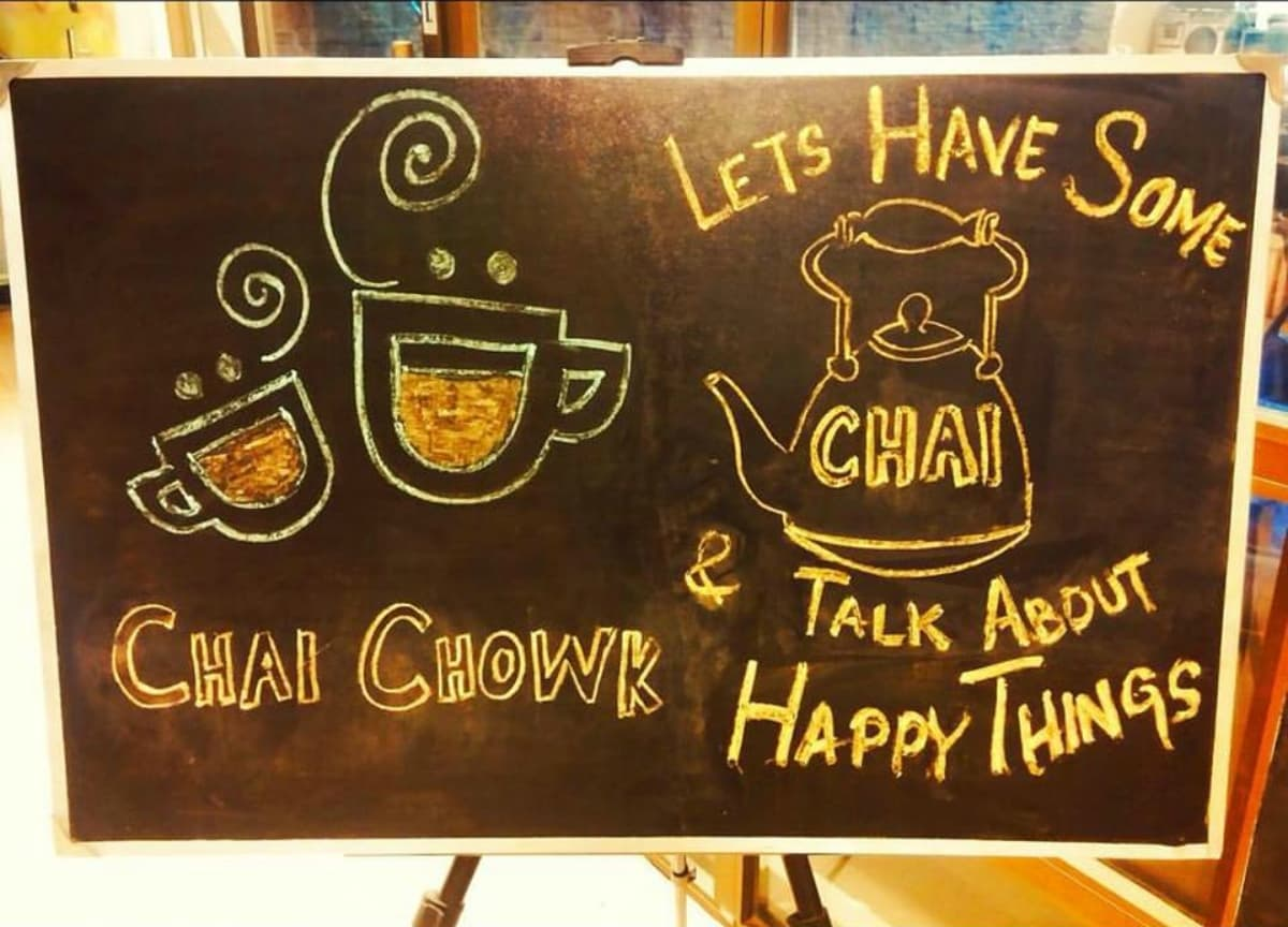 This Chai Chowk signboard promises that a visit will be a good break from the routine - Photo courtesy ChaiChowk's Facebook page