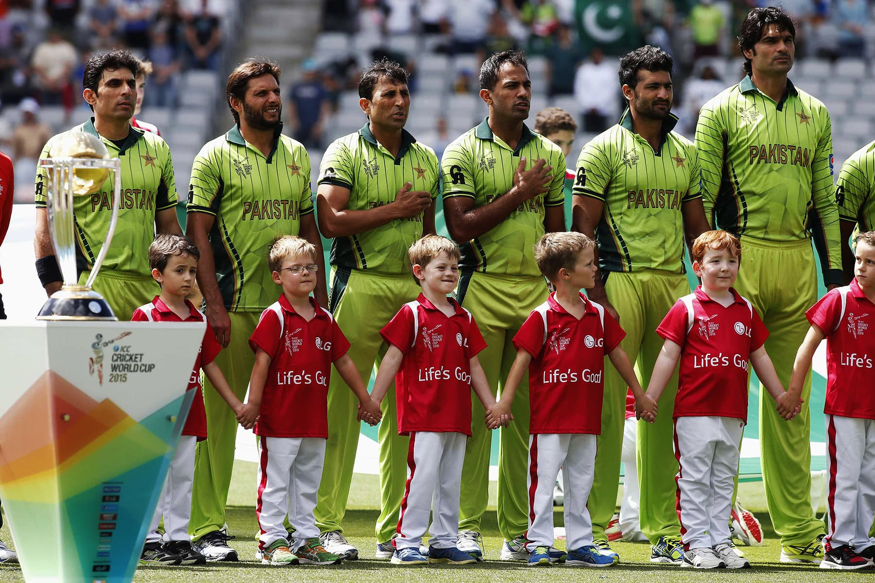 Pakistan team sings their national anthem before their World Cup encounter against South Africa in Auckland on March 7, 2015. — Reuters