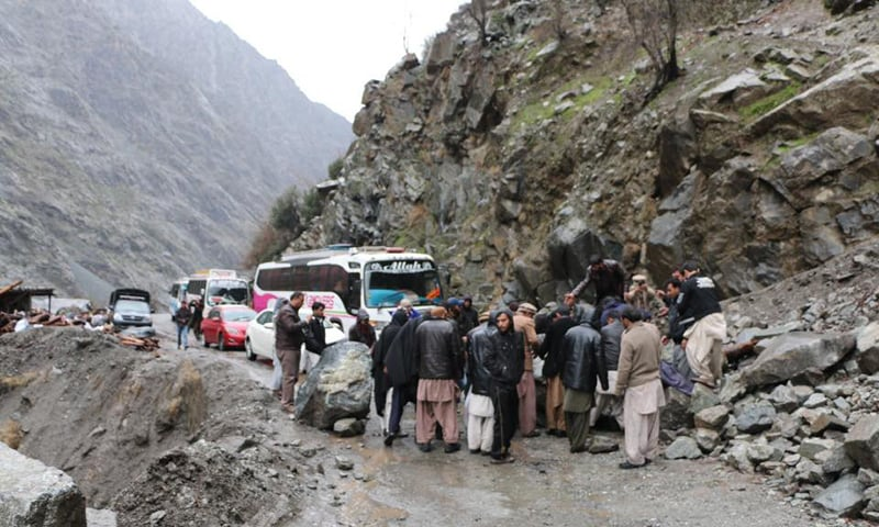A view of a roadblock caused by a landslide in Gilgit-Baltistan region. -Photo courtesy Hussain Nagri