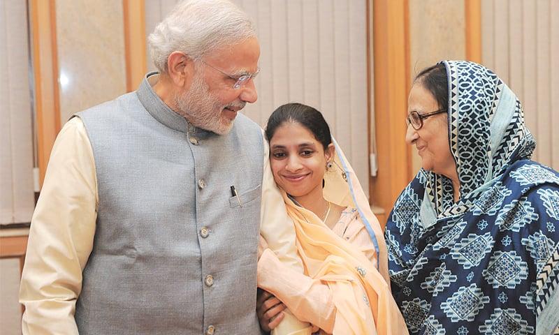 Indian Prime Minister Narendra Modi meets Geeta in New Delhi.—AFP