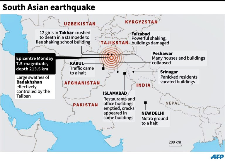Map showing the epicentre of the quake. ─AFP