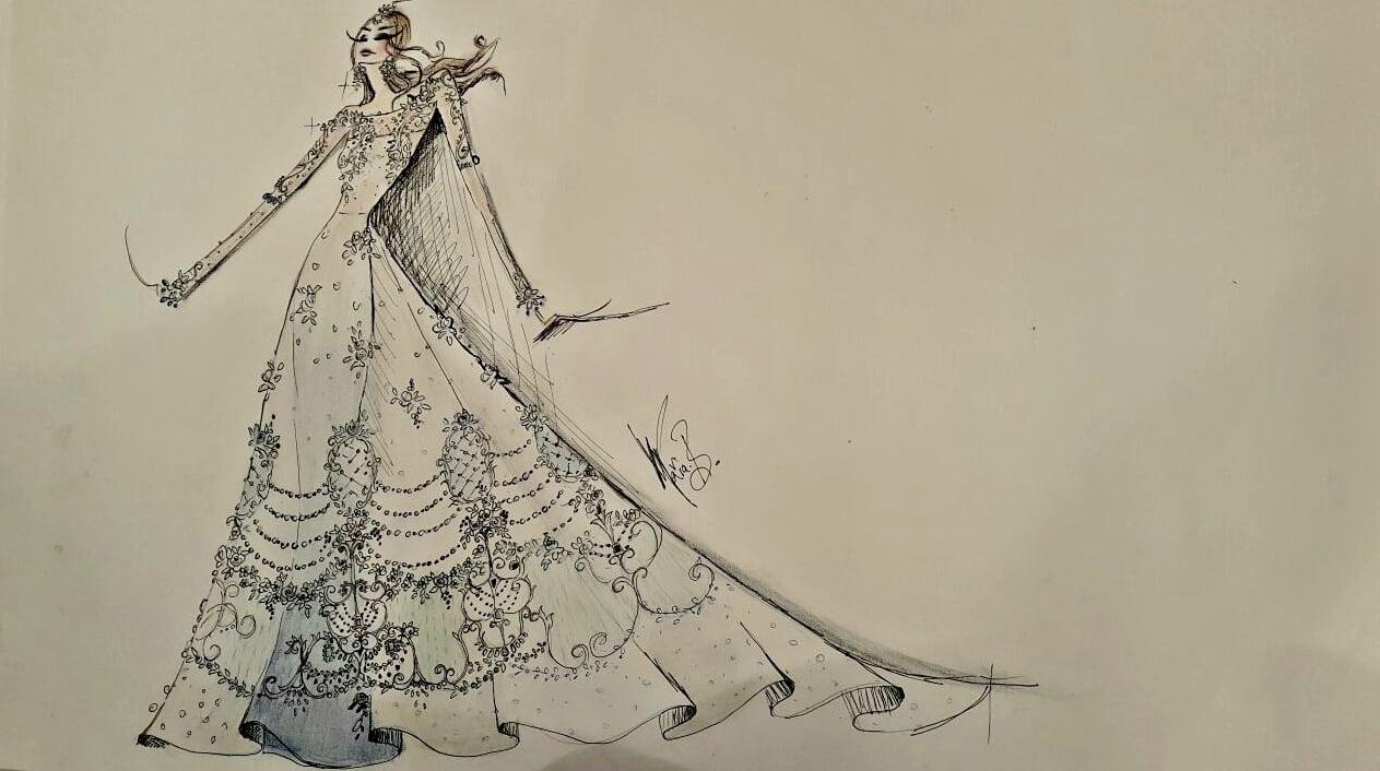 The sketch of Maria B's design for Swarovski's Sparkling Couture exhibition - Photo courtesy Maria B