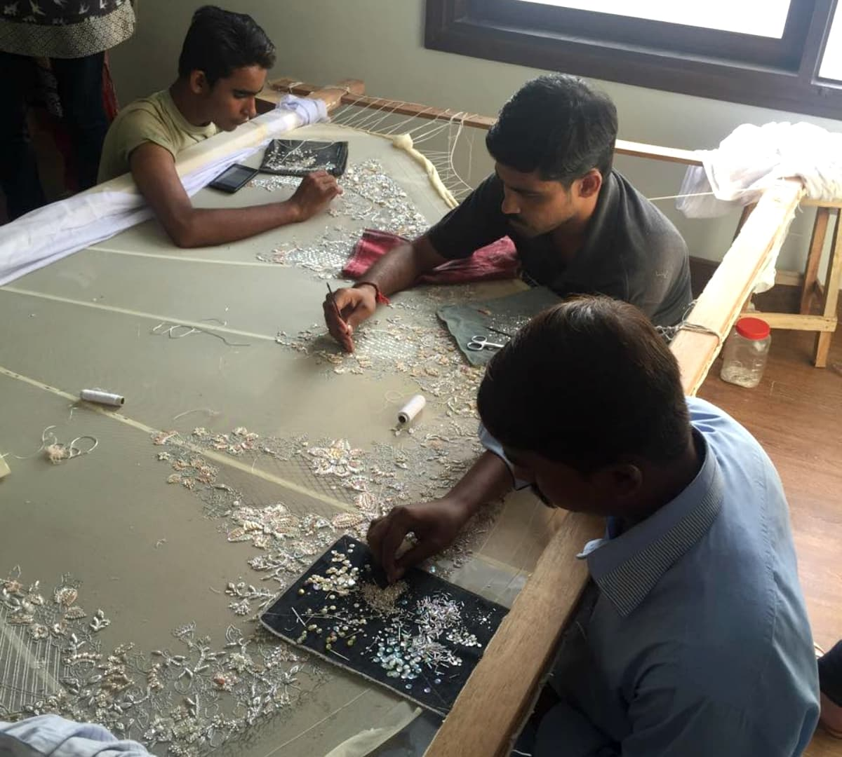 Approximately 150,000 crystals are being incorporated in this piece – Photo courtesy Tena Durrani