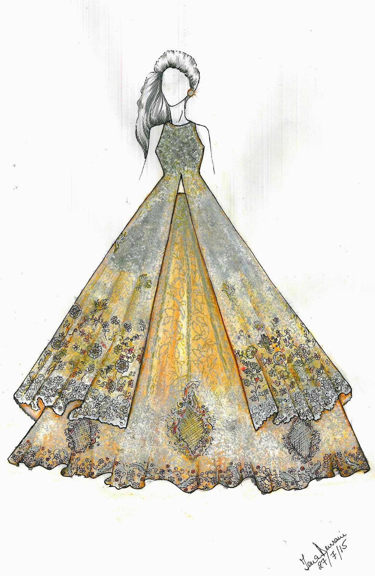 The sketch for Tena Durrani's creation for Sparkling Couture – Photo courtesy Tena Durrani