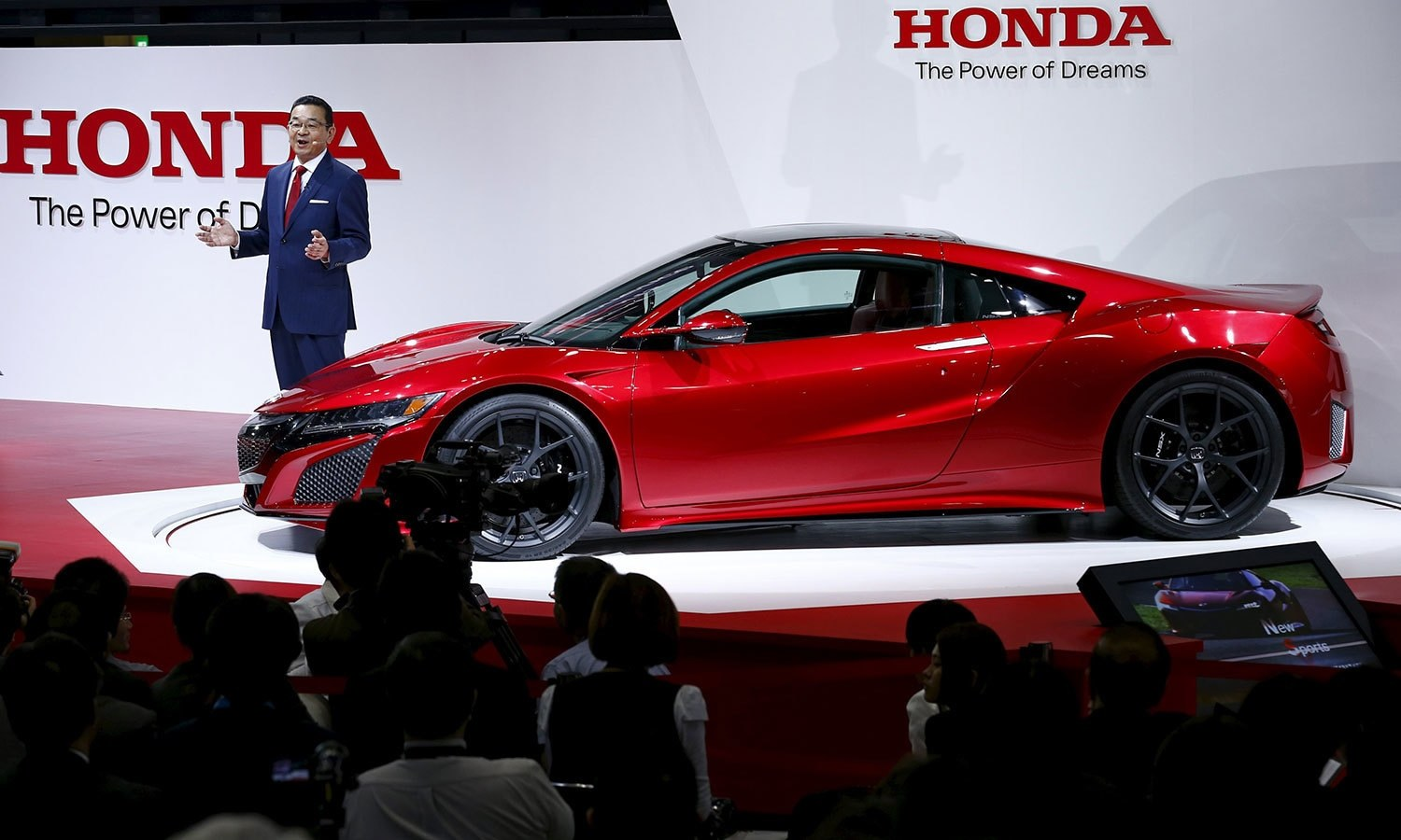Honda Motor Co President And CEO Takahiro Hachigo Presents The New NSX Sports Car At