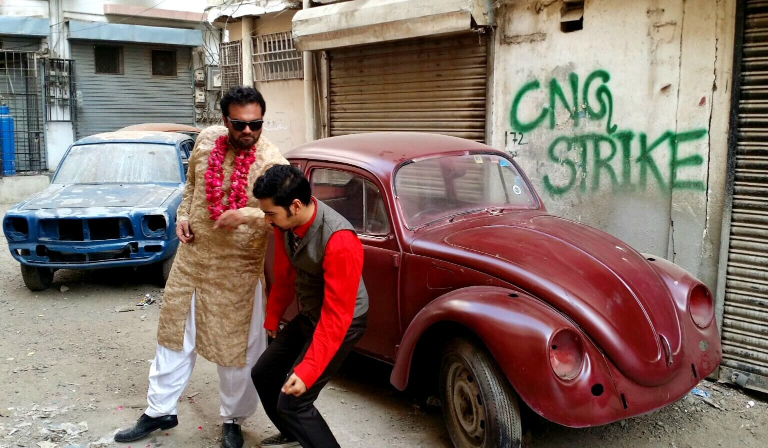 Musicians have a hard life, even in their music videos; a BTS shot of 'No CNG', a song by Bassam Shazli that Mooroo is producing – Photograph by Jamil Alvi