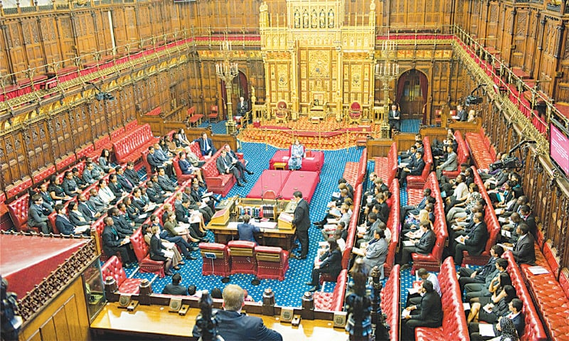 THE upper chamber of the British Parliament, the House of Lords, in session.