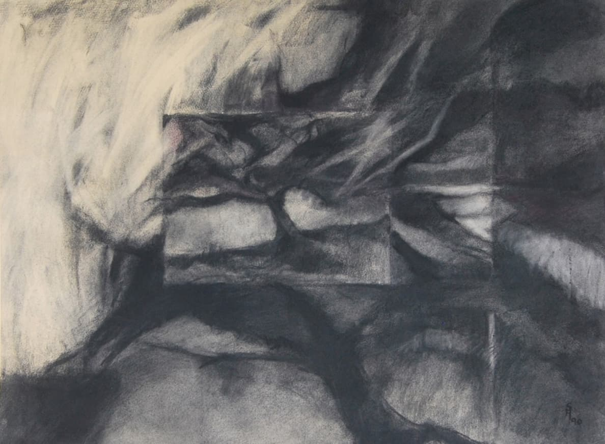 Inner Landscape, Charcoal and pigment on handmade rag paper,1990 – Courtesy Art Now Pakistan