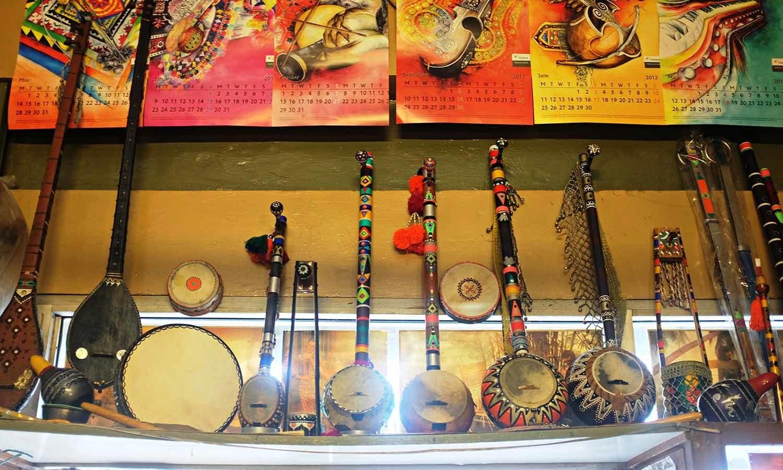 Colorful sarangis on display at Sohail Music Palace.
