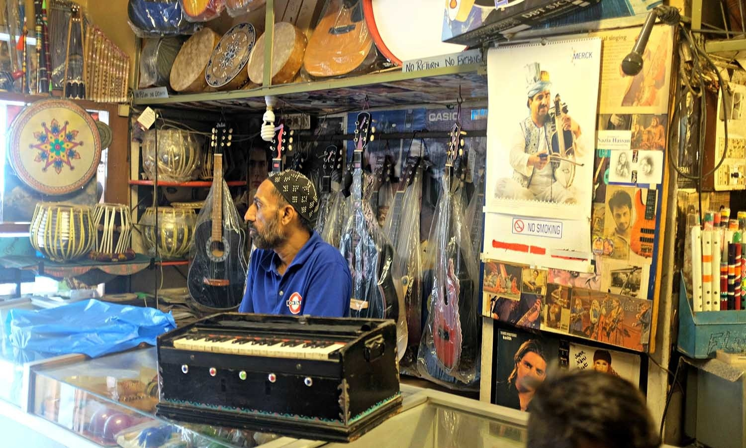 Sohail's music shop has a wide range of musical instruments.