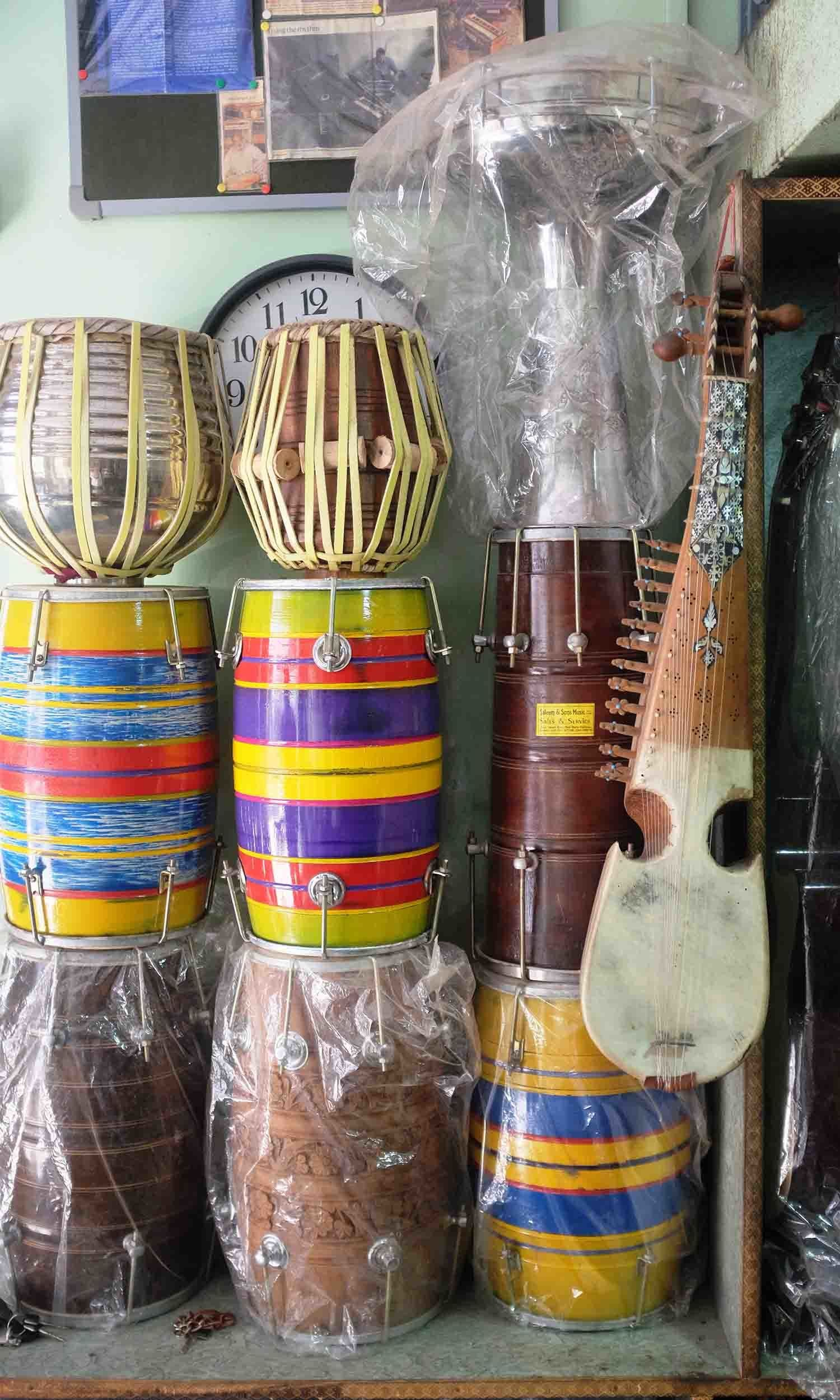 Different music instruments at display at Saleem and Sons.