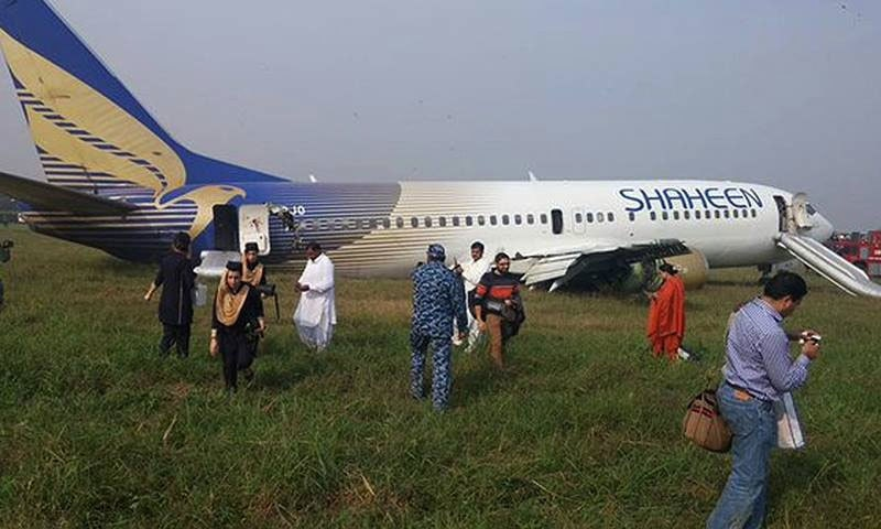 The plane skidded off the Lahore runway after its tyre burst due to a fault in the landing gear.  — DawnNews screengrab