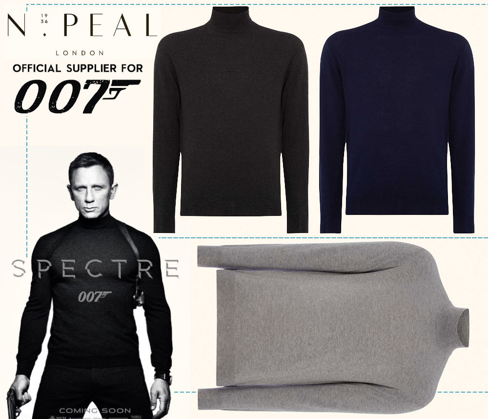 The cashmere turtleneck worn by Craig in the Spectre poster sold out in N. Peal stores almost immediately after the film's promotional release.