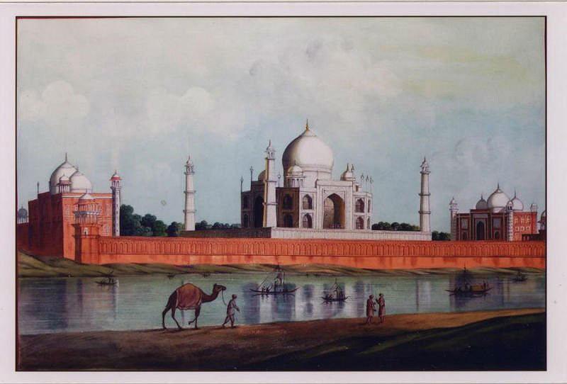 Mughal painting of the Taj during Mughal King Aurungzeb's rule (17th Century).