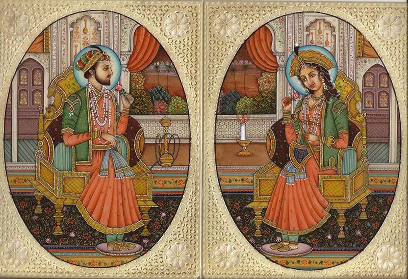 A Mughal painting of Shah Jahan and Mumtaz Mahal.