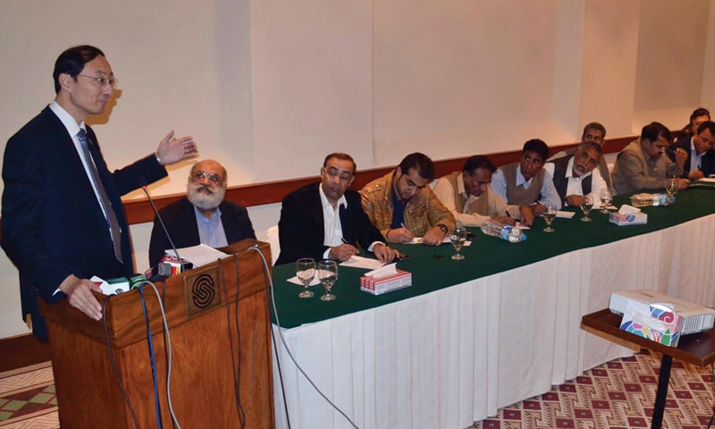 QUETTA: Chinese Ambassador to Pakistan Sun Weidong addressing a gathering organised by the Balochistan Economic Forum here on Thursday.—INP