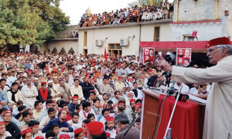 Asfandyar Wali Khan addresses a workers convention in Charsadda on Thursday. — Dawn