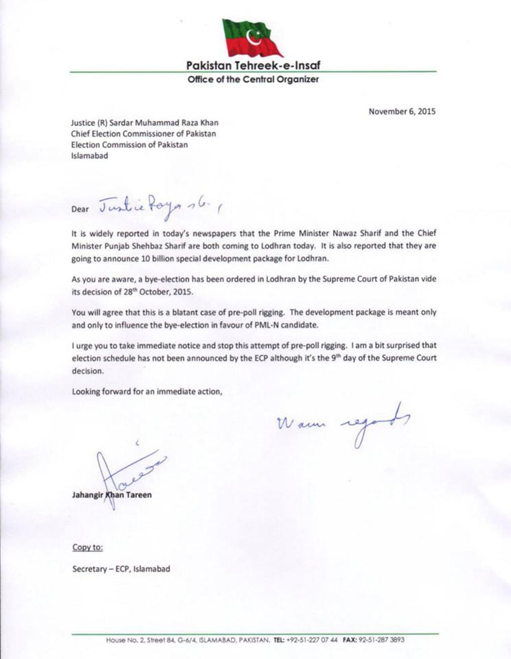 Copy of Jahangir Khan Tareen's letter to CEC