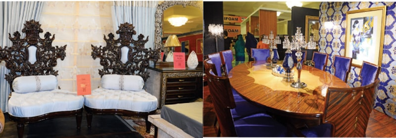 Some of the furniture on display at the exhibition on Friday. — Photos by Khurram Amin
