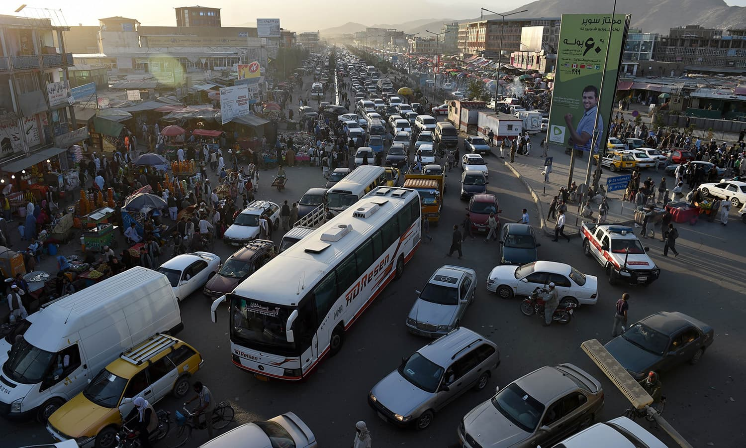 In this photograph taken on September 4, 2015, traffic is backed up during a jam at Kote Sangi in Kabul.  — AFP