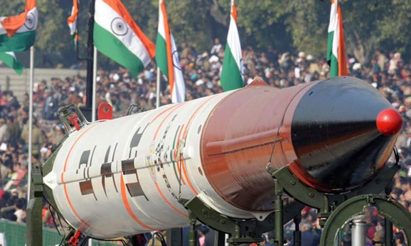 Agni-IV missile displayed during the Republic Day parade in New Delhi.—AFP/File