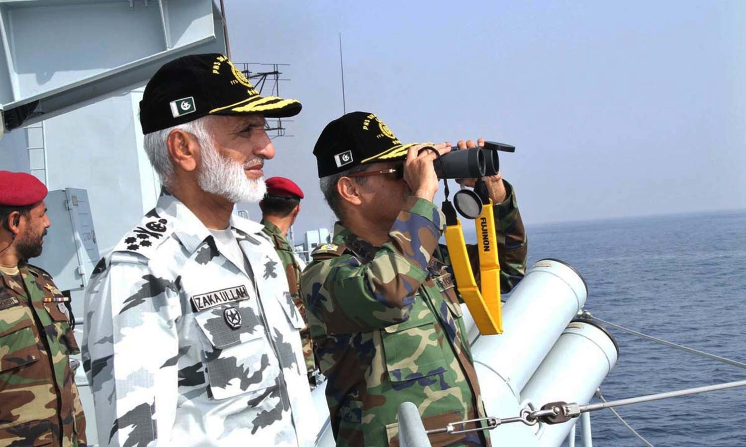 Chief of the Naval Staff Admiral Zakaullah along with Chief of Air Staff Sohail Aman reviewing operational activities out at sea during Exercise Sea Spark 2015. — APP
