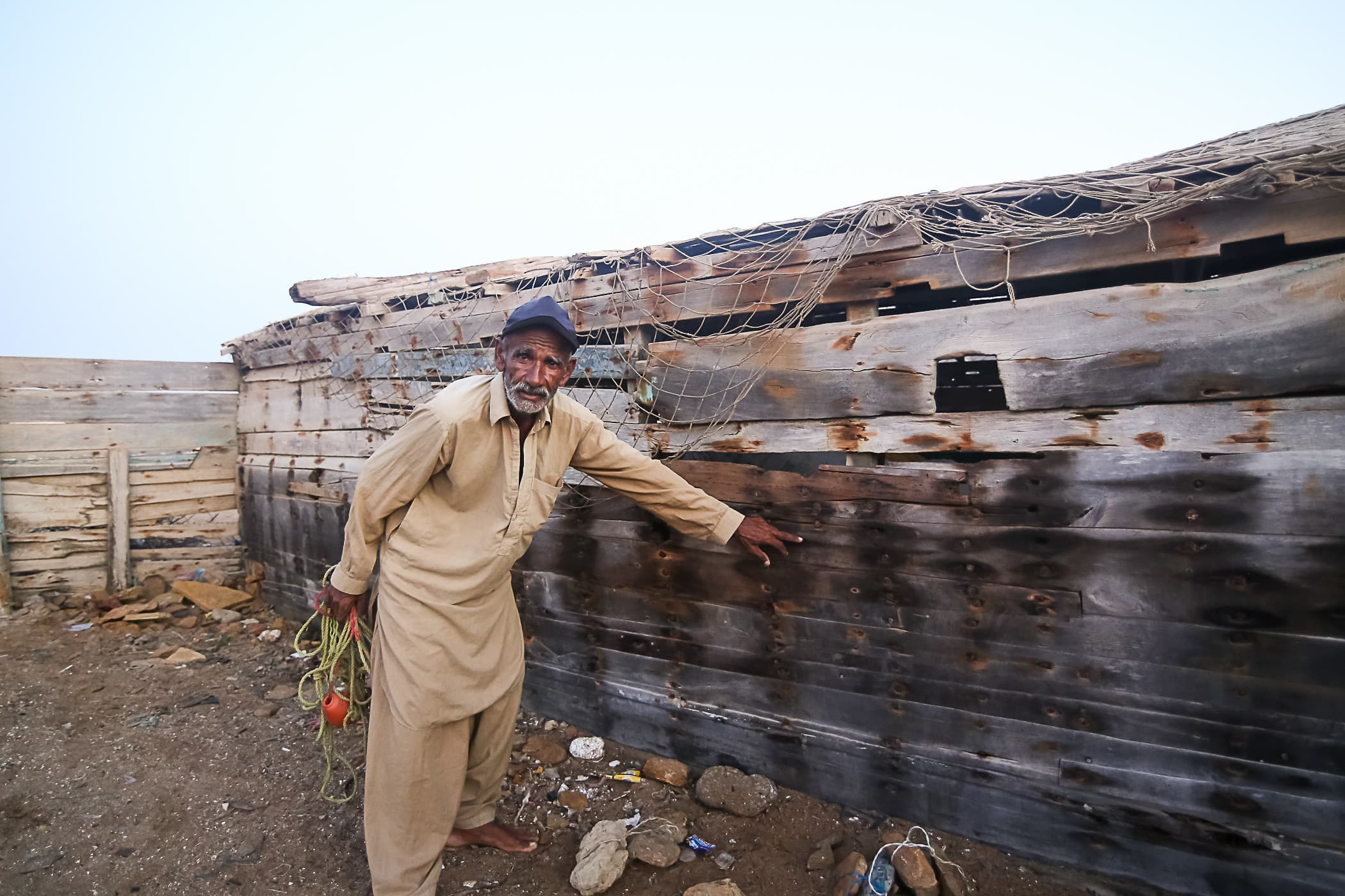 The old sail boat that is now used as a workshop for Chacha Majeed.