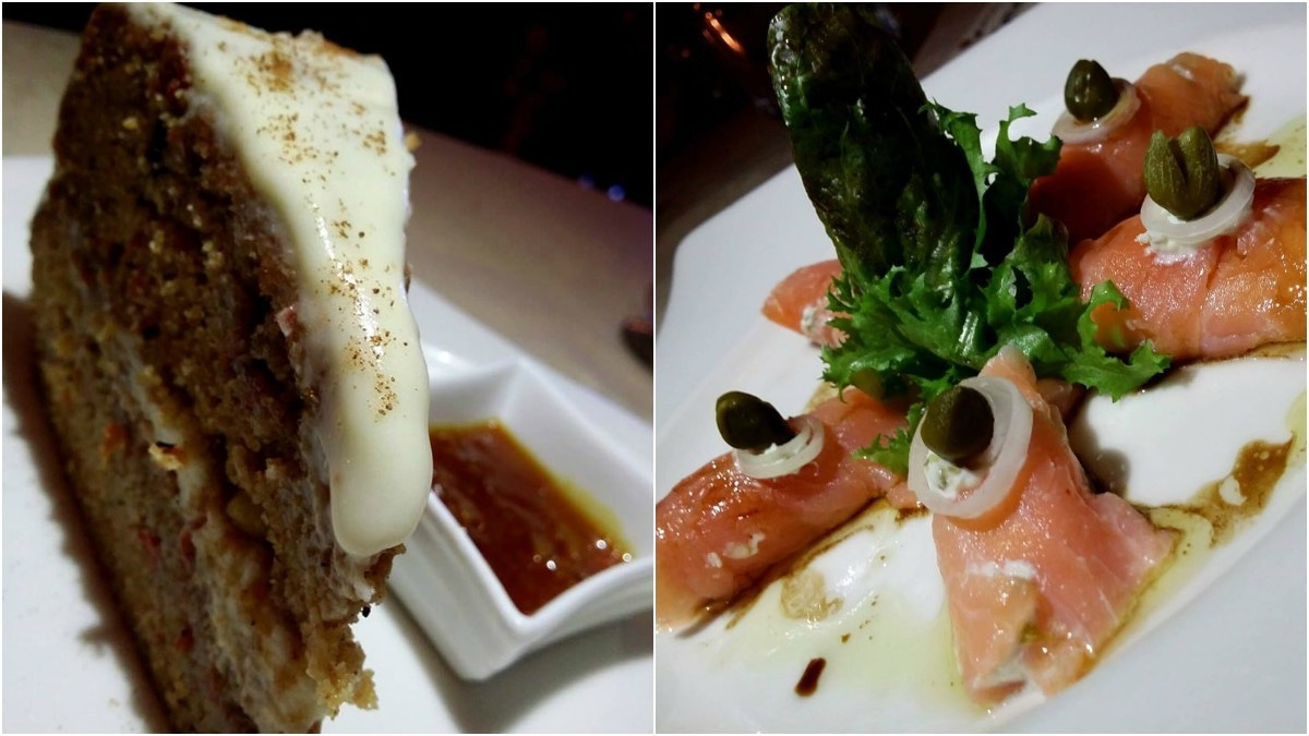 From L-R: carrot cake and salmon rolls – Photo courtesy Imtisal Zafar