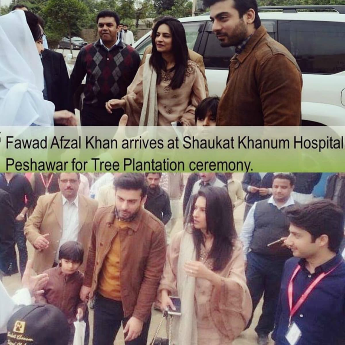 Fawad visited Peshawar with his wife Sadaf in support of Imran Khan's tree plantation drive, Billion Tree Tsunami – Photo courtesy: Shaukat Khanum Memorial Cancer Hospital and Research Centre's page